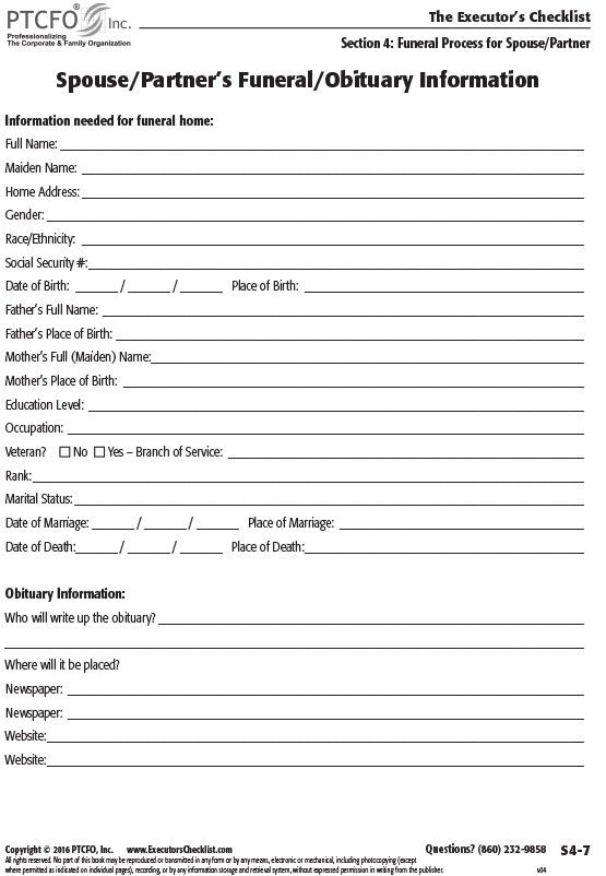 The Executors Checklist Help your family hit the ground running – Funeral Checklist Template